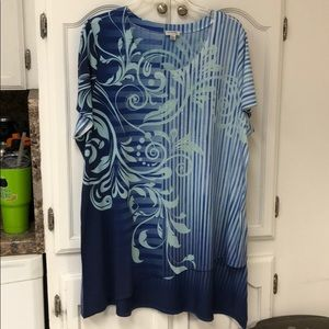 Avenue 18/20 blue, light green Sequenced blouse